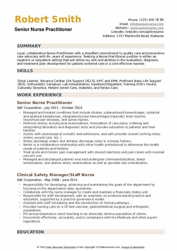 nurse practitioner resume samples qwikresume free templates pdf industry phd coo computer Resume Free Nurse Practitioner Resume Templates