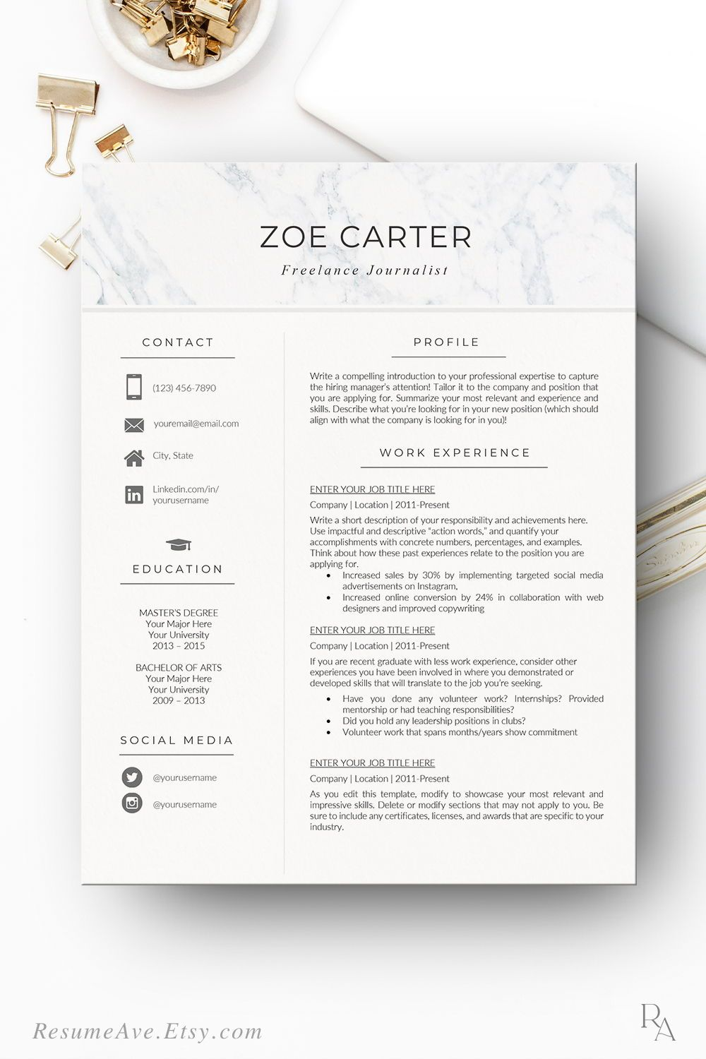 nurse resume template with marble header modern and creative etsy in nursing executive Resume The 24 Step Modern Resume