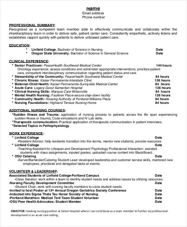 nursing student resume example free word pdf documents premium templates clinical Resume Clinical Experience Resume Nursing Student