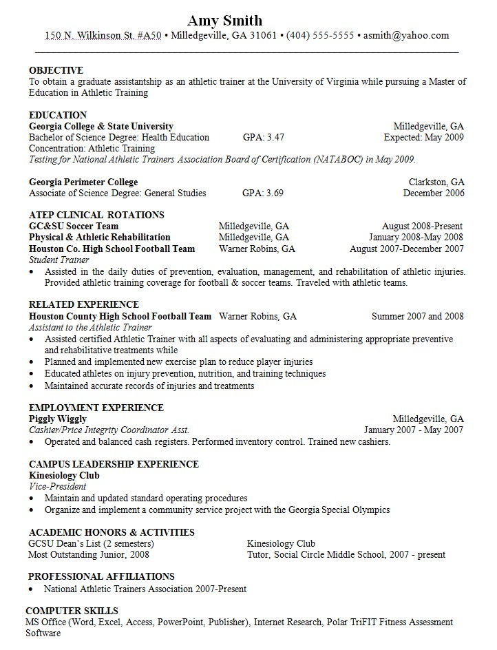 objective for resume athletic trainer danetteforda sample technical consultant action Resume Athletic Trainer Resume Sample