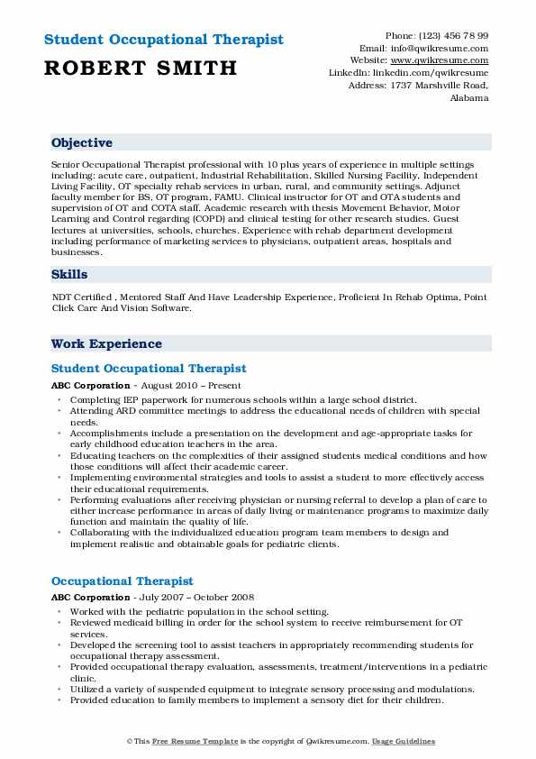 occupational therapist resume samples qwikresume examples pdf freight forwarder food Resume Resume Examples Occupational Therapist