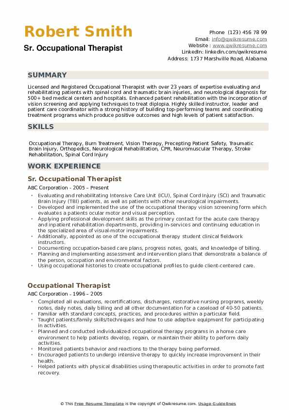 occupational therapist resume samples qwikresume examples pdf supply chain specialist Resume Resume Examples Occupational Therapist