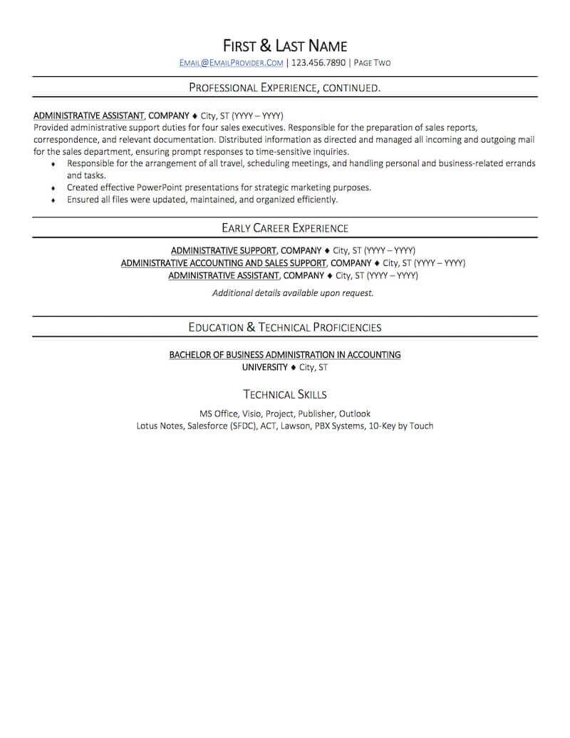 office administrative assistant resume sample professional examples topresume page2 Resume Professional Administrative Assistant Resume