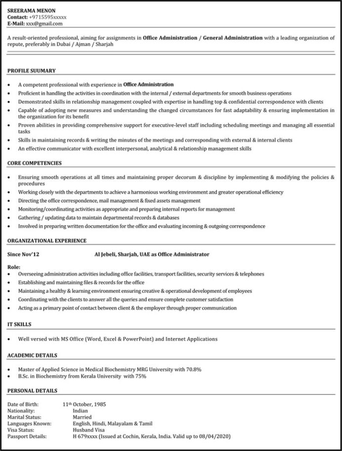 office assistant resume sample administrative naukri title examples for linkedin summary Resume Resume Title Examples For Administrative Assistant