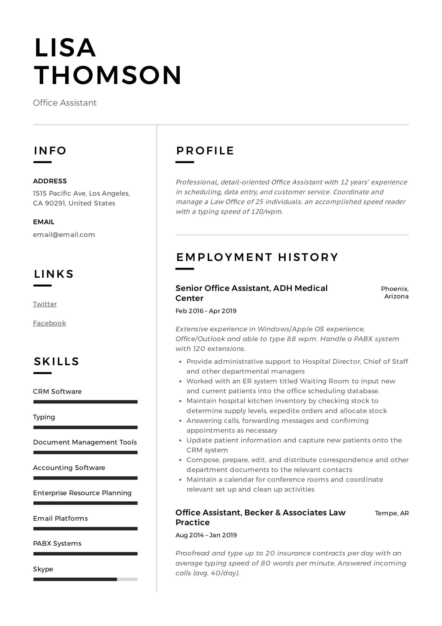 office assistant resume writing guide templates sample for with experience lisa thomson Resume Sample Resume For Office Assistant With Experience