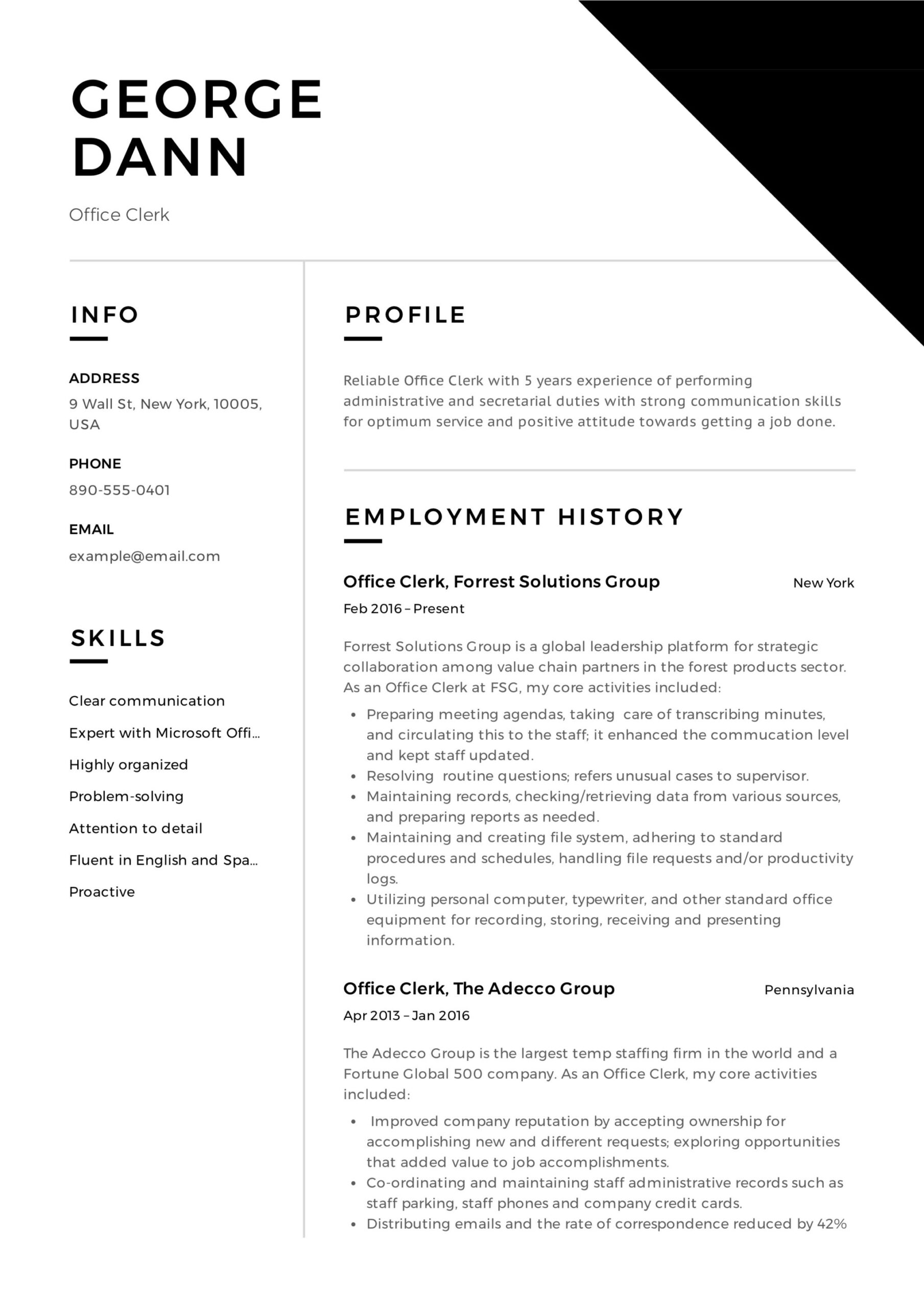 office clerk resume guide samples pdf clerical summary boeing format stb testing catering Resume Clerical Resume Summary