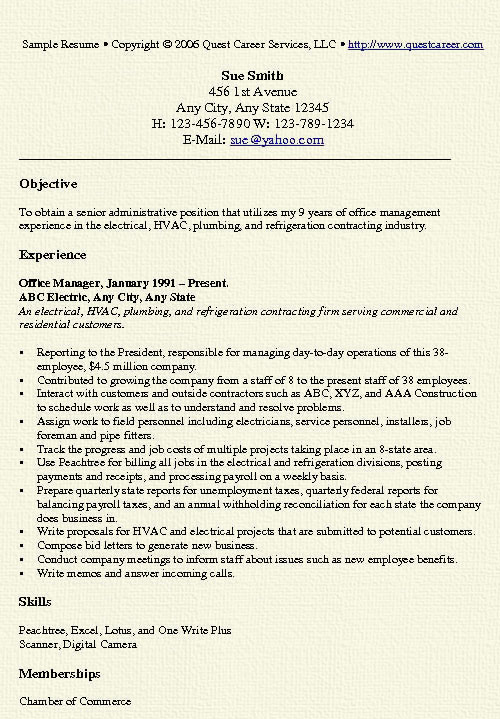 office manager resume example free professional document sample administrative9 Resume Office Manager Resume Example