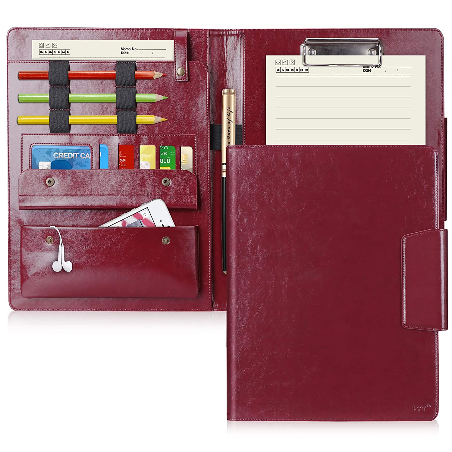 office supplies fyy padfolio leather portfolio case with card slots pockets pencil Resume Leather Portfolio Case For Resume