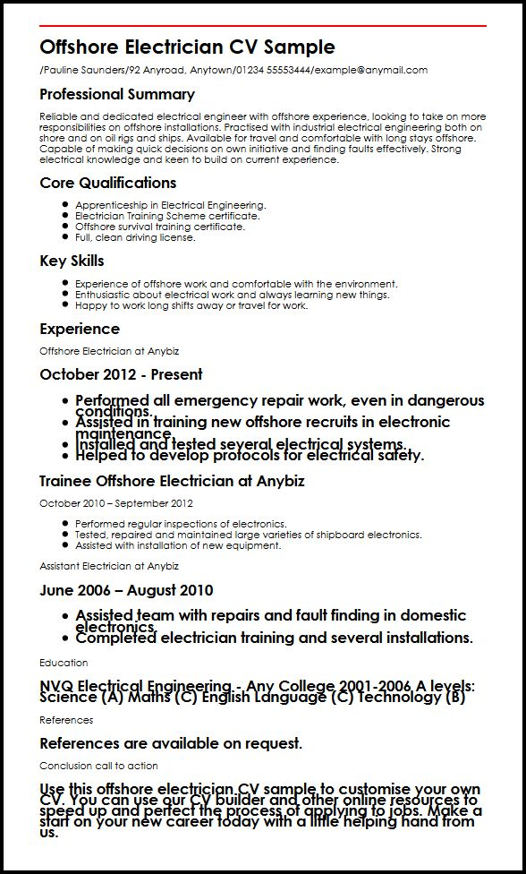 offshore electrician cv example myperfectcv oil rig resume template sample entry level Resume Oil Rig Resume Template