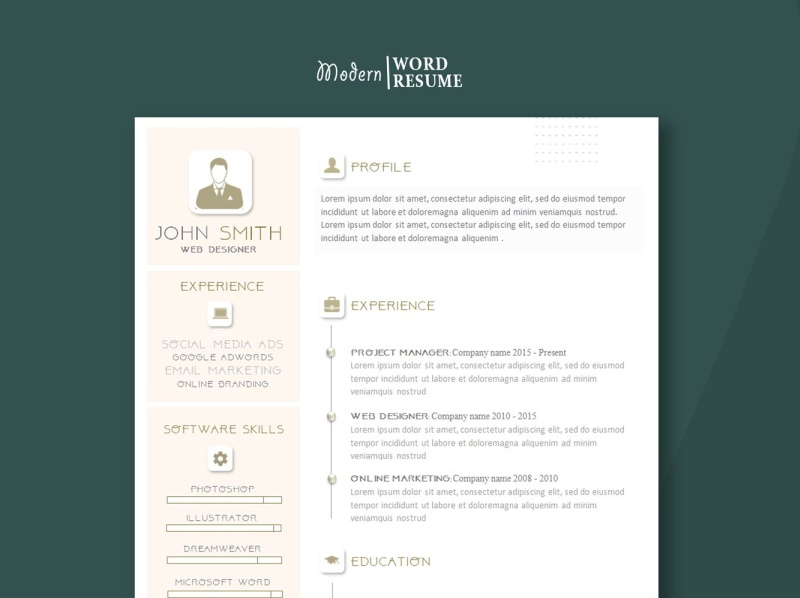 one resume template cv for ms word by templates on dribbble microsoft server profile Resume Microsoft Word One Page Resume Template