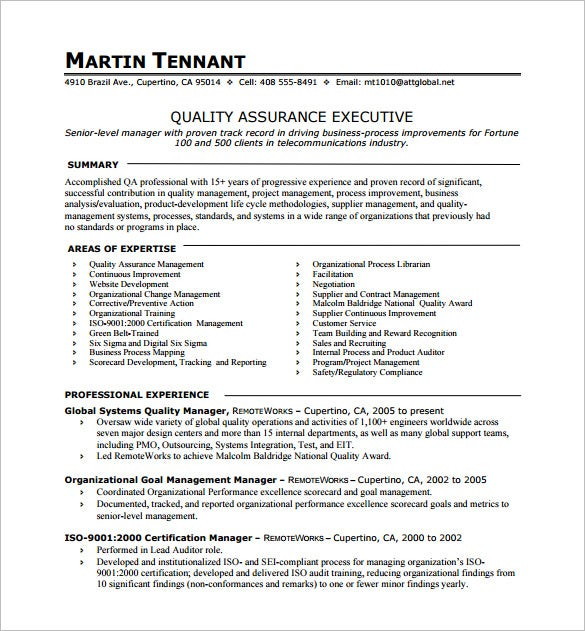 one resume template free word excel pdf format premium templates single quality assurance Resume Single Page Resume Word Template