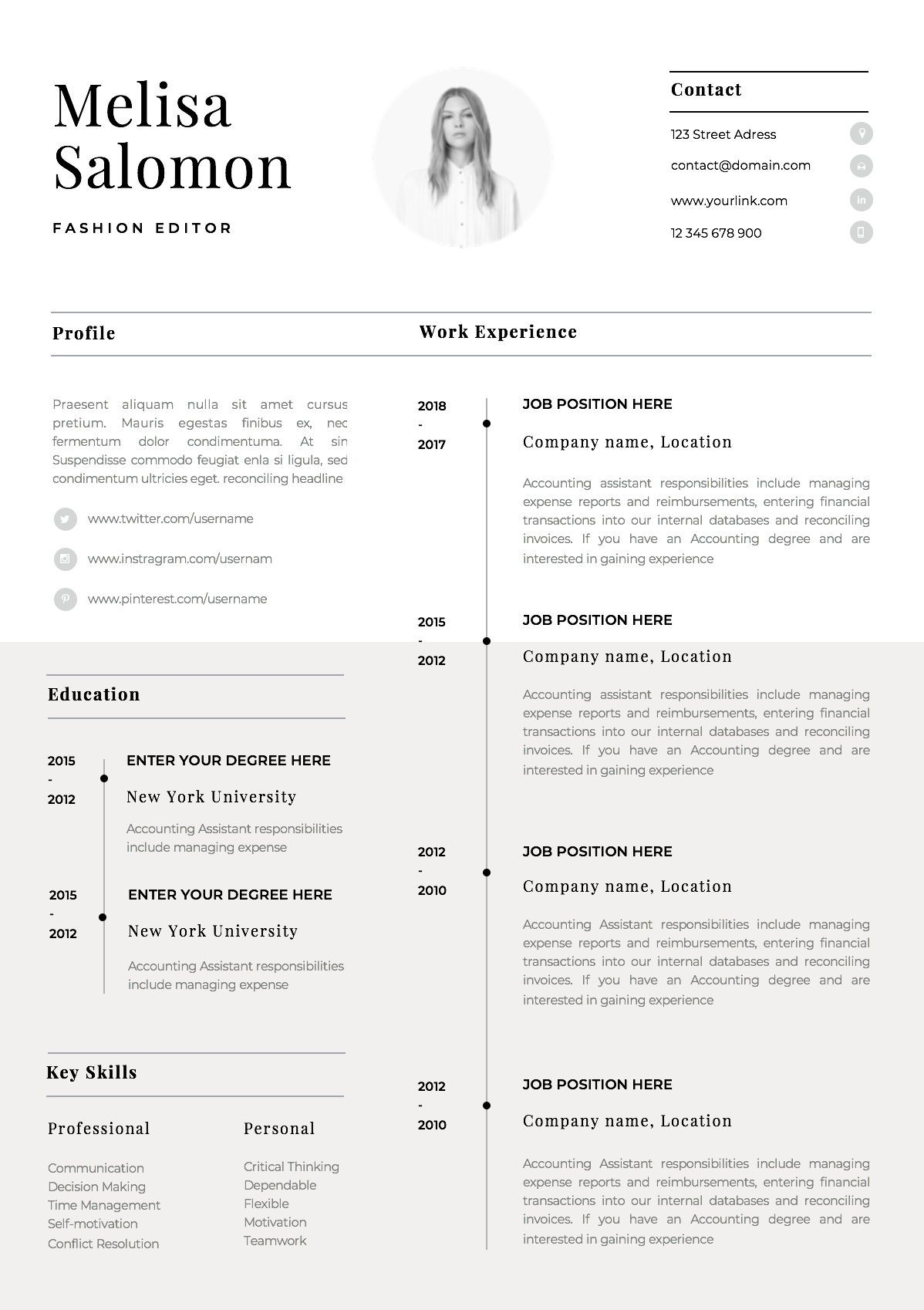 one resume template with photo for word cv singe professional simple single registered Resume Single Page Resume Word Template
