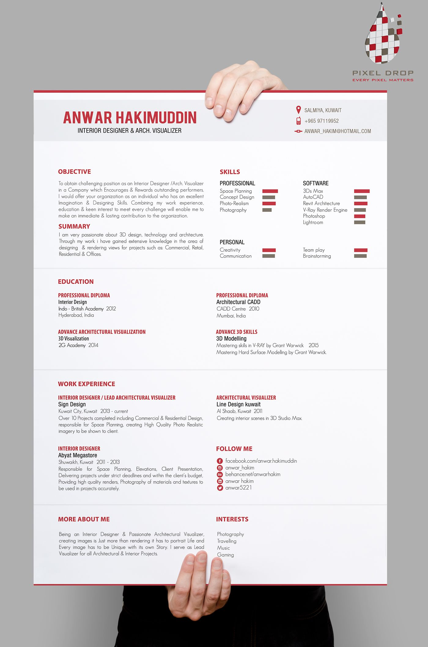 one side resume plus portfolio format two in designed for an architectural visualize Resume Visualizer Resume Sample