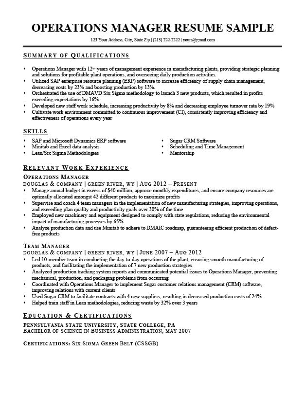 operations manager cv december summary resume keywords sample perfect college example Resume Operations Manager Summary Resume