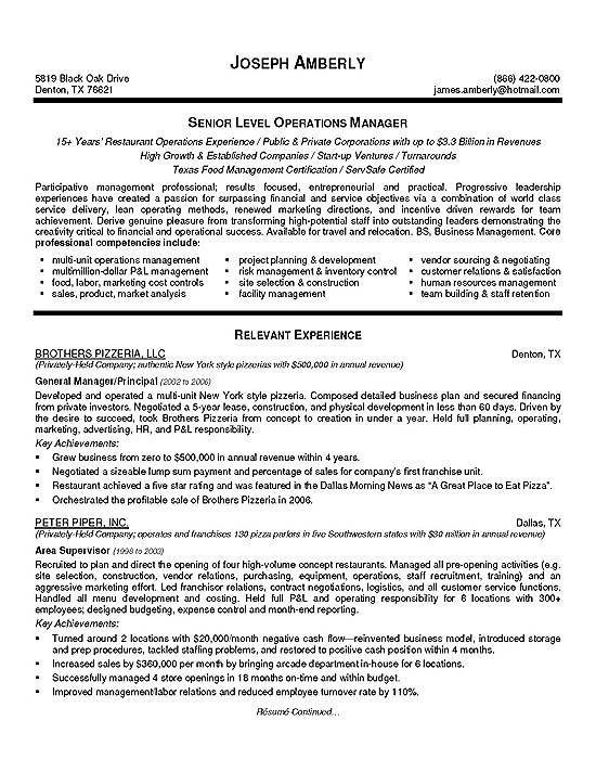 operations manager job resume examples executive template for management positions create Resume Resume Examples For Management Positions