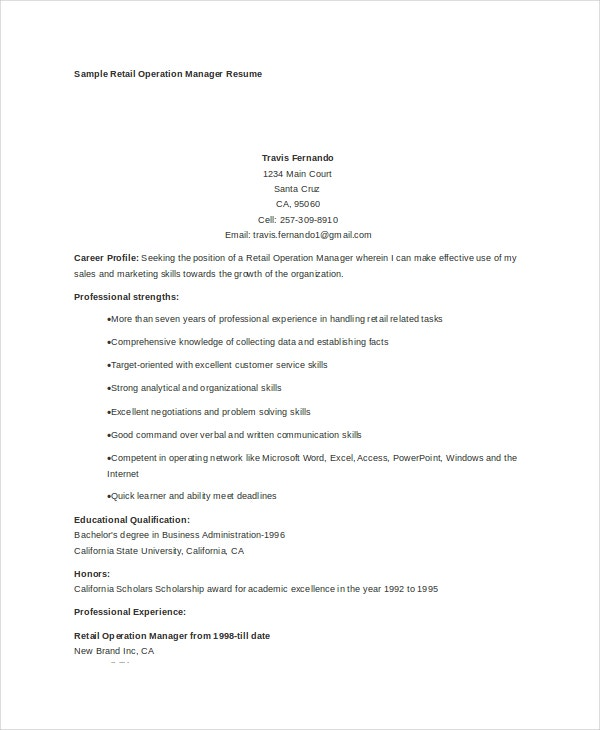 operations manager resume free sample example format premium templates retail hospice Resume Operations Manager Resume