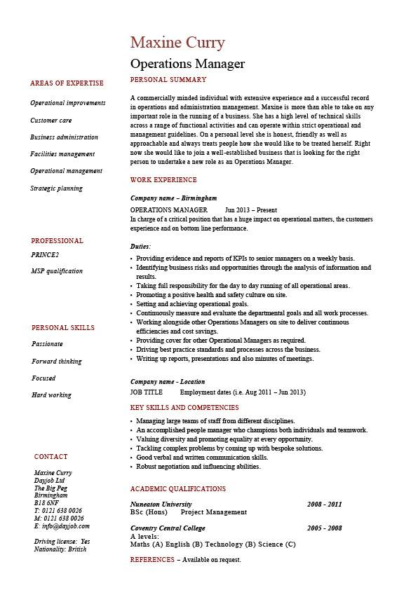 operations manager resume job description example template sample work projects resources Resume Operations Manager Resume