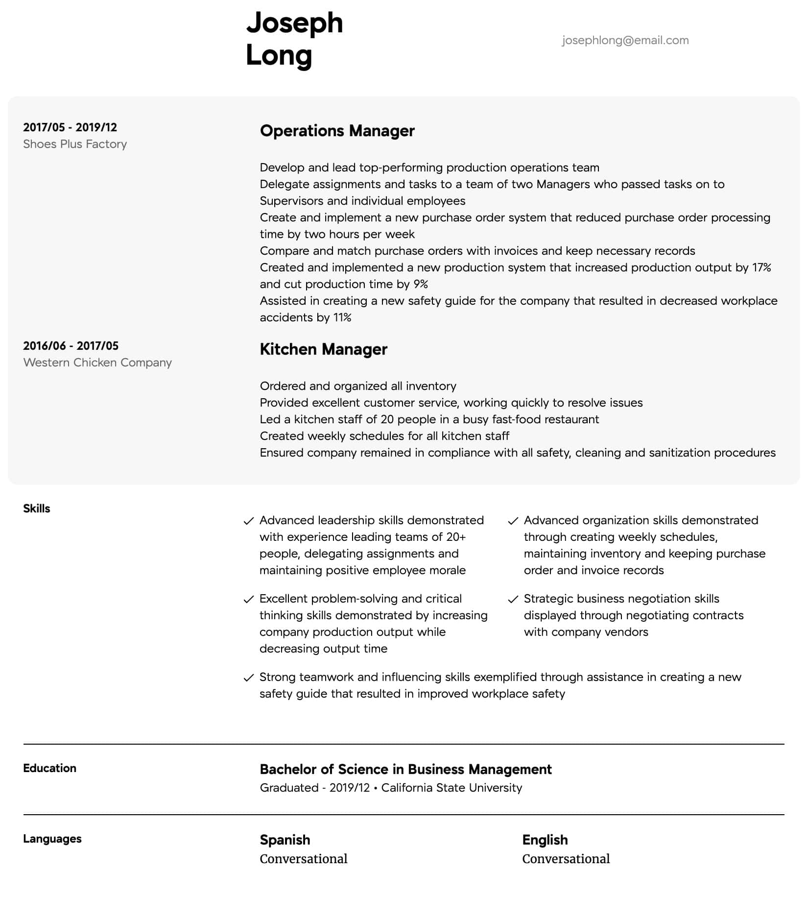 operations manager resume samples all experience levels intermediate patient care Resume Operations Manager Resume