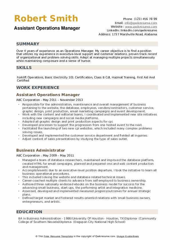 operations manager resume samples qwikresume business management objective pdf Resume Business Management Objective Resume