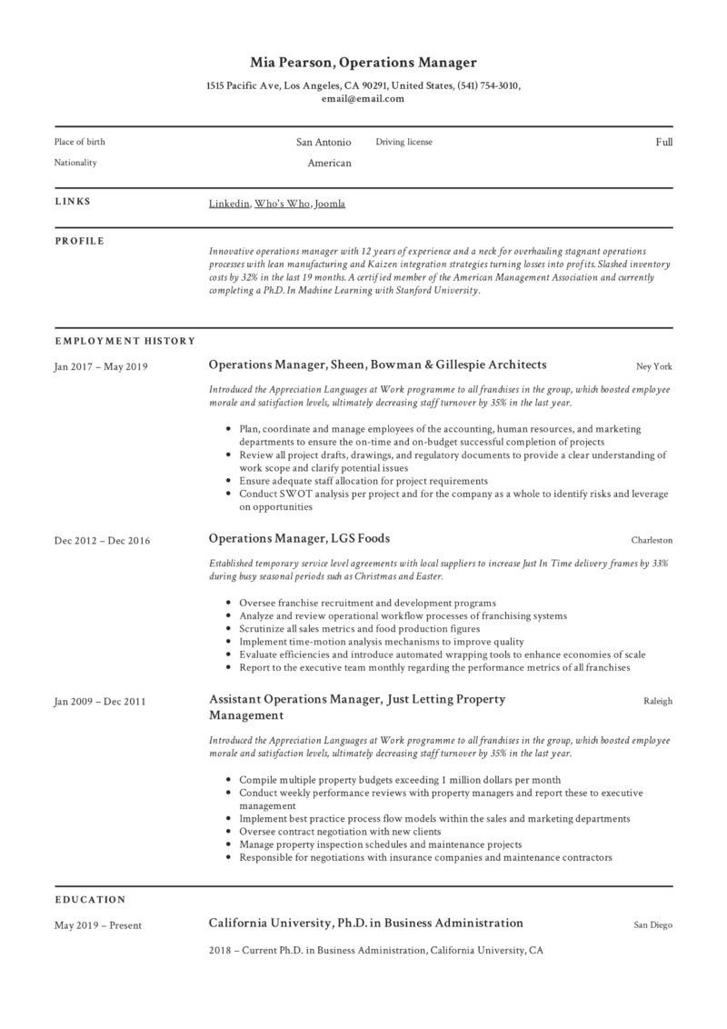 operations manager resume writing guide examples pdf business process management example Resume Business Process Management Resume Examples