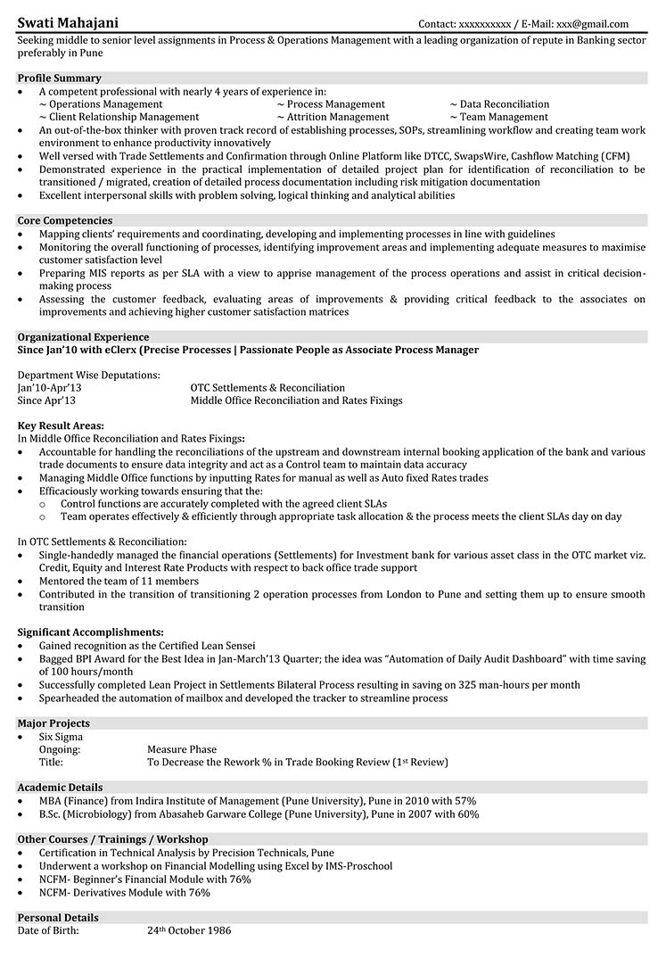 operations resume samples format for manager naukri business process management examples Resume Business Process Management Resume Examples
