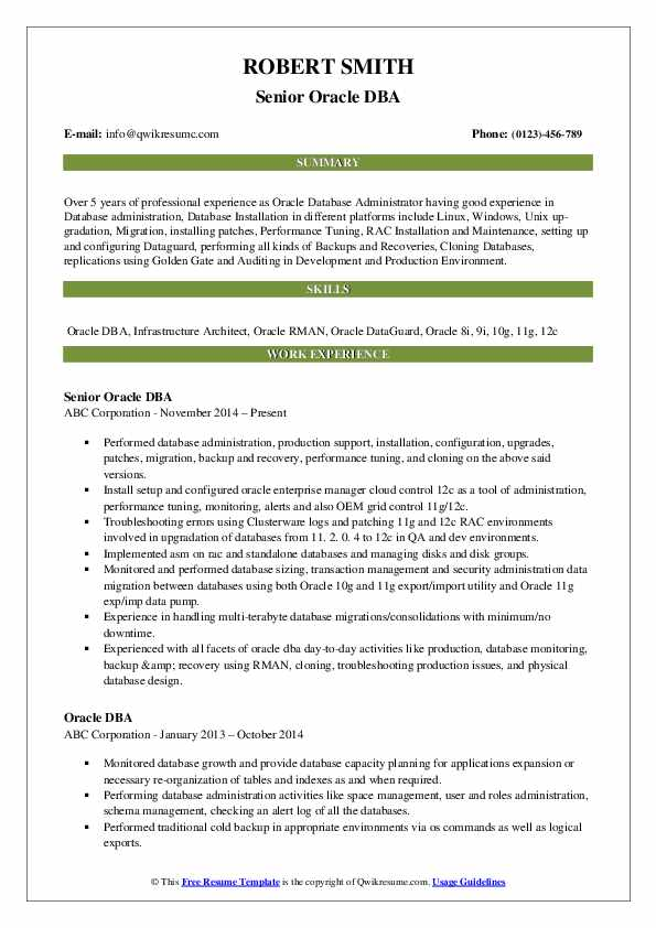 oracle resume samples qwikresume for years pdf federal template fbi voice process social Resume Oracle Dba Resume For 2 Years