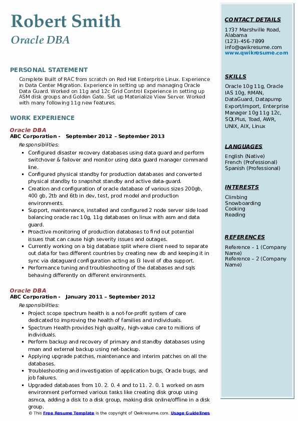 oracle resume samples qwikresume for years pdf social teacher federal template fbi Resume Oracle Dba Resume For 2 Years