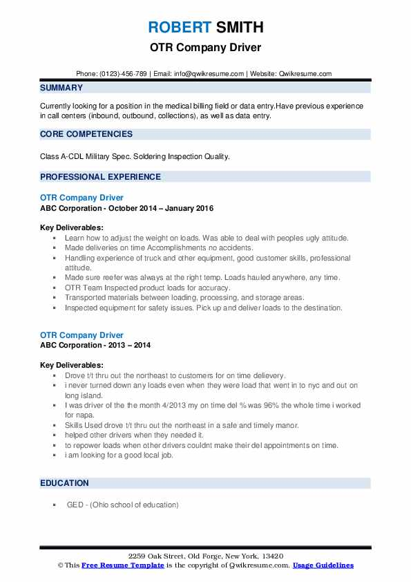 truck driver resume examples created by pros myperfectresume otr sample transportation Resume Otr Driver Resume Sample