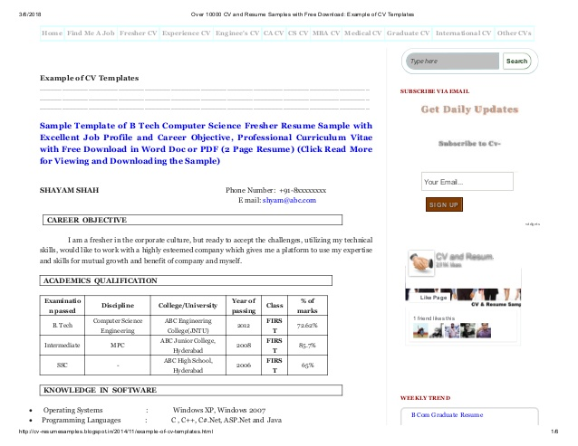 over cv and resume samples with free example of te format for freshers photo templates Resume Free Download Resume Format For Freshers With Photo