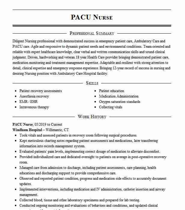pacu nurse resume example resumes misc livecareer rn examples summary generator airframe Resume Pacu Rn Resume Examples