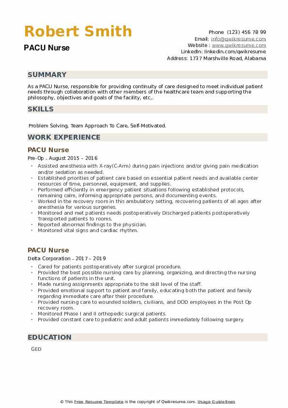 pacu nurse resume samples qwikresume rn examples pdf full draft for job situation task Resume Pacu Rn Resume Examples