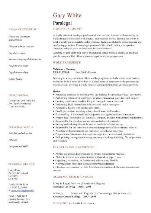 paralegal cv sample resume template pic leadership summary examples credit specialist Resume Paralegal Resume Template