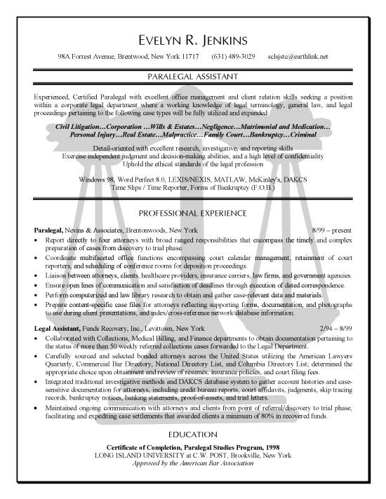 paralegal resume example sample for legal assistant legal6 volunteer experience section Resume Sample Resume For Legal Assistant Paralegal