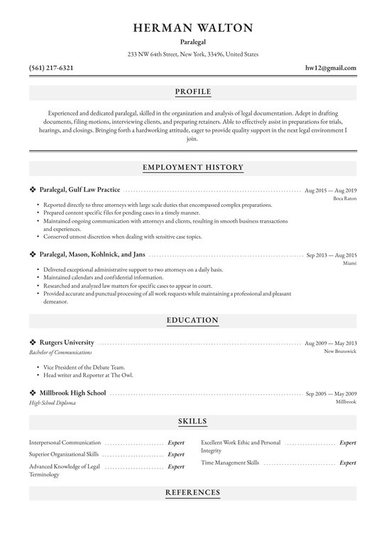 paralegal resume examples writing tips free guide io template onet builder office work Resume Paralegal Resume Template