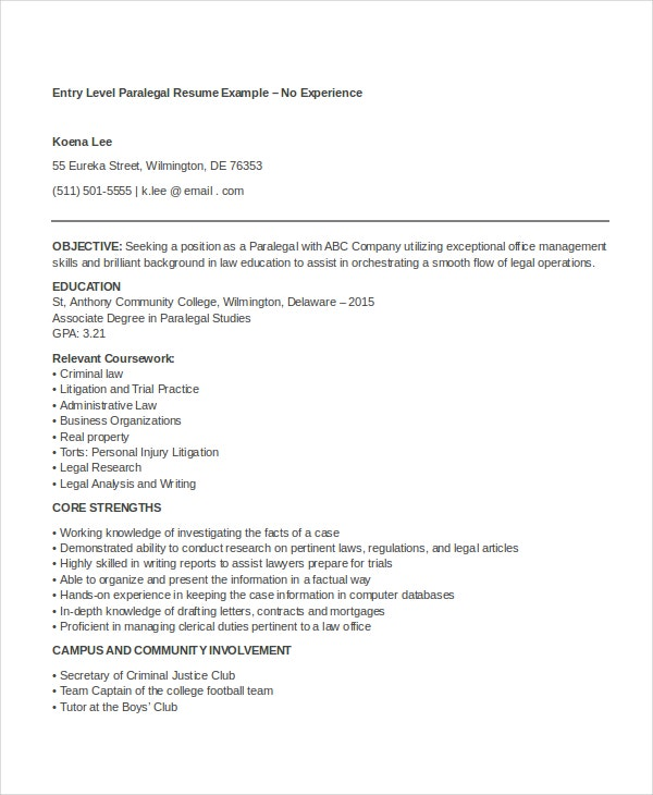 paralegal resume templates pdf free premium template sample entry level bsc chemistry Resume Paralegal Resume Template
