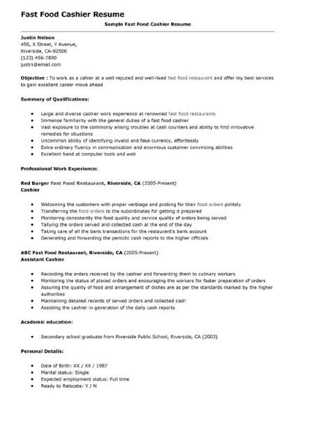 part time job resume objective fast food crew member description for manager duties Resume Fast Food Crew Member Job Description For Resume