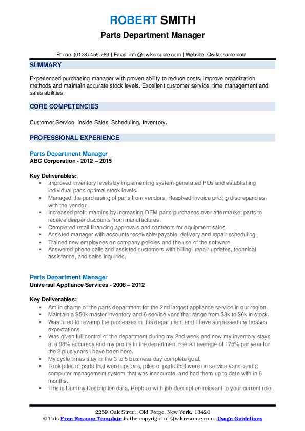 parts department manager resume samples qwikresume pdf marine biology examples college Resume Parts Department Resume