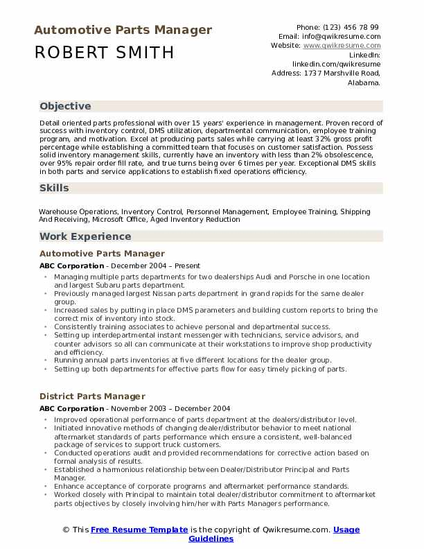 parts manager resume samples qwikresume department pdf college student maker sample Resume Parts Department Resume