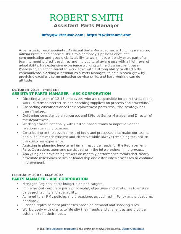 parts manager resume samples qwikresume department pdf printing press operator sample Resume Parts Department Resume
