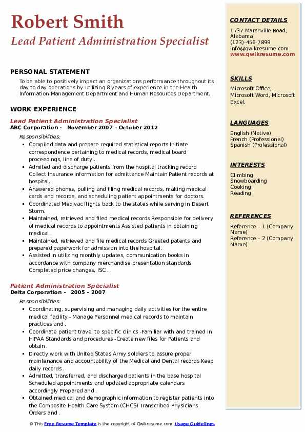 patient administration specialist resume samples qwikresume pdf talent acquisition Resume Patient Administration Specialist Resume