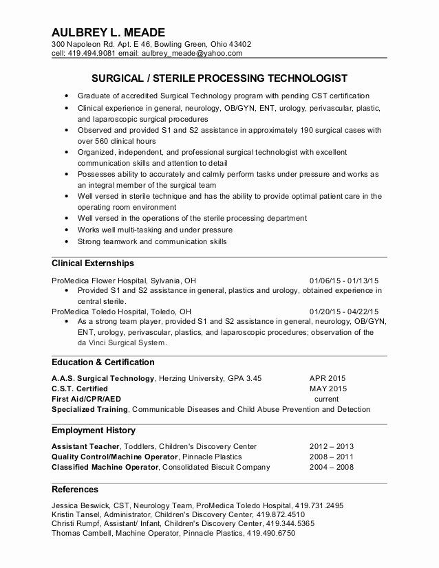 patient care technician resume elegant aulbrey surgical tech technologist sterile Resume Sterile Processing Technician Resume Example