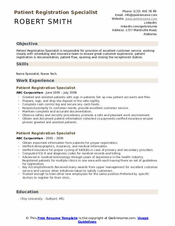 patient registration specialist resume samples qwikresume pdf goal oriented examples Resume Registration Specialist Resume