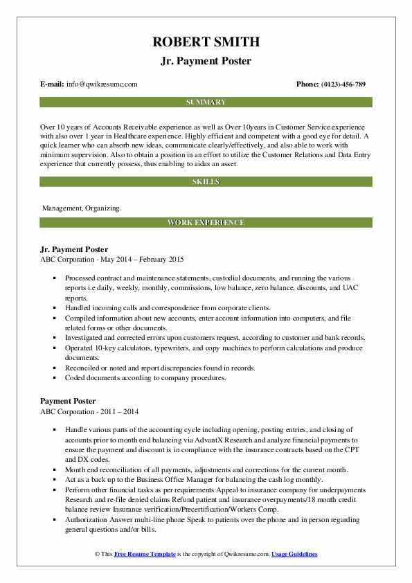 payment poster resume samples qwikresume job description for pdf account manager graphic Resume Payment Poster Job Description For Resume