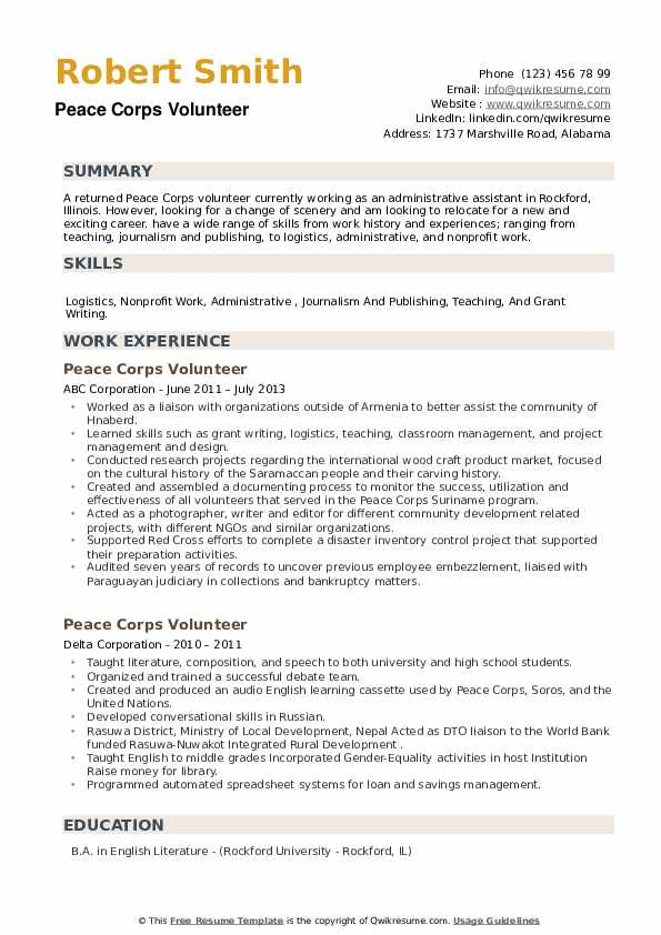 peace corps volunteer resume samples qwikresume updated pdf now reviews art objective Resume Peace Corps Updated Resume
