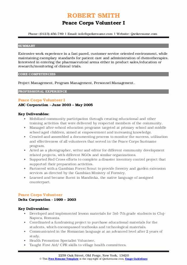 peace corps volunteer resume samples qwikresume updated pdf preparation assistance math Resume Peace Corps Updated Resume