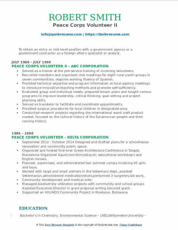 peace corps volunteer resume samples qwikresume updated pdf preparation assistance Resume Peace Corps Updated Resume