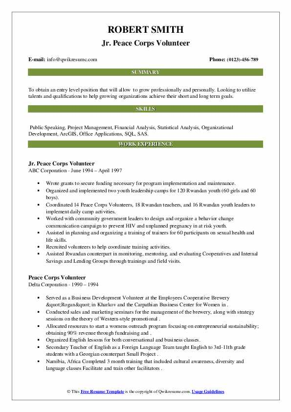 peace corps volunteer resume samples qwikresume updated pdf tailoring services college Resume Peace Corps Updated Resume