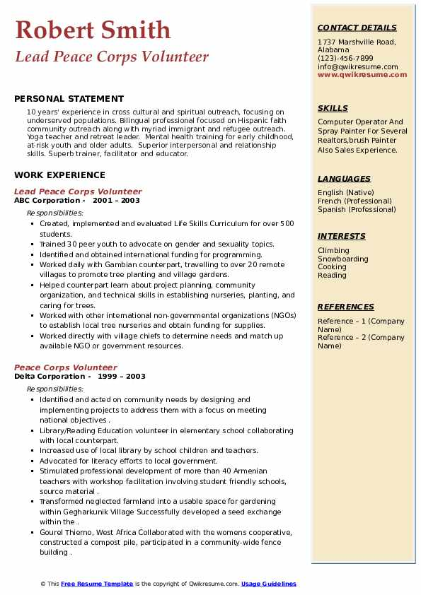 peace corps volunteer resume samples qwikresume updated pdf tailoring services reverse Resume Peace Corps Updated Resume