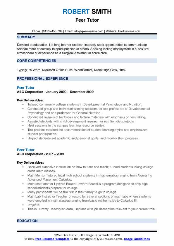 peer tutor resume samples qwikresume another word for on pdf references example with year Resume Another Word For Tutor On Resume