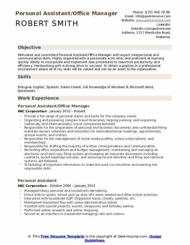 personal assistant resume samples qwikresume assets for pdf make on phone drawing skills Resume Personal Assets For Resume